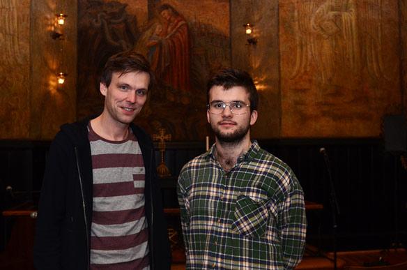 Musikalsk ansvarlig Magnus Køhn (t.v.) og frivillig Sondre Ferstad vil etablere Majorstua+ som en musikkscene som folk kan regne med.